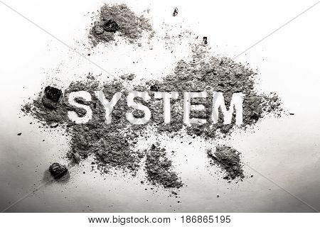 System word written in grey ash as old vintage bad failed method process classification organization management business government concept text background