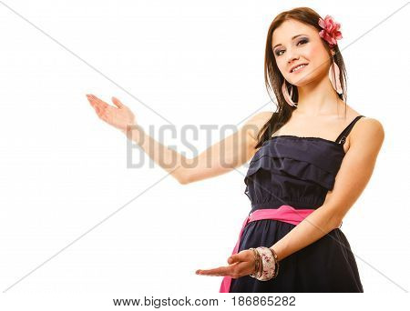 beauty fashion advertisement concept - young woman in summer dress showing blank copy space copy space isolated