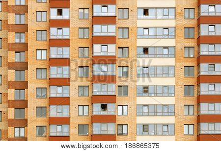 Close view on residental building in a new district Kudrovo in Saint-Petersburg city, Russia.