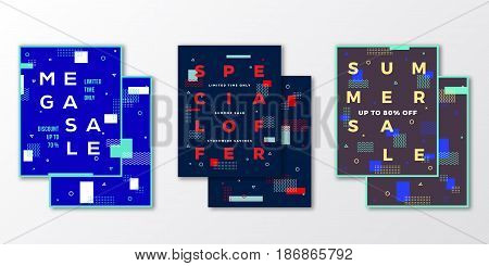 Sale Posters, Cards or Flyer Template Set. Abstract Swiss Style Background with Decorative Elements, Creative Typography. Soft Realistic Shadows. Isolated.