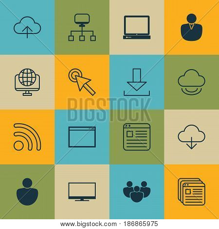 Set Of 16 World Wide Web Icons. Includes Program, Team, Data Synchronize And Other Symbols. Beautiful Design Elements.
