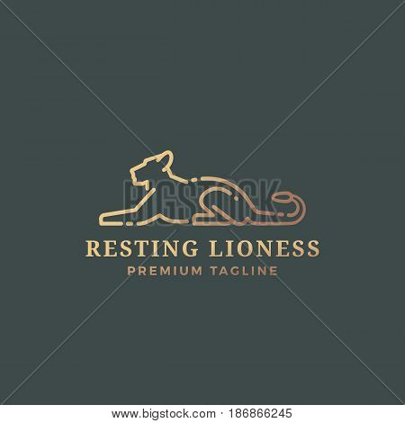 Resting Lioness Abstract Vector Sign, Emblem or Logo Template. Line Style Gracefull Lying Lioness Silhouette with Typography. Dark Background.