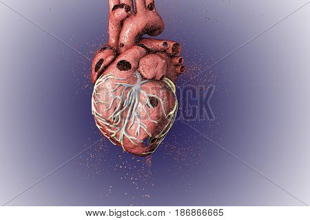 Destruction of heart. Heart disease concept, 3D illustration