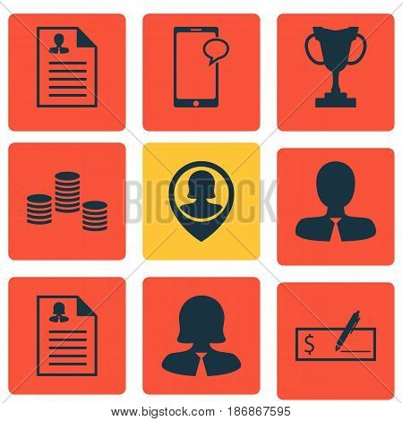Set Of 9 Management Icons. Includes Curriculum Vitae, Bank Payment, Money And Other Symbols. Beautiful Design Elements.