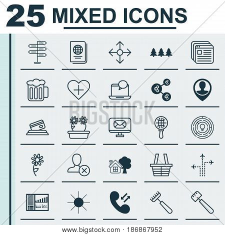 Set Of 25 Universal Editable Icons. Can Be Used For Web, Mobile And App Design. Includes Elements Such As Road Pointer, Favorite Person, Spatula And More.
