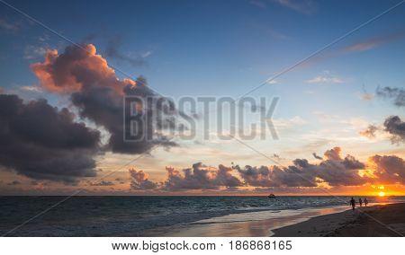 Seascape In Tropical Sunrise. Atlantic Ocean