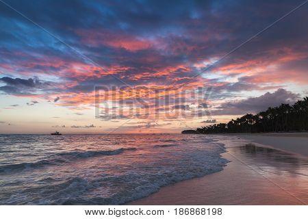 Colorful Sunrise Over Atlantic Ocean Coast