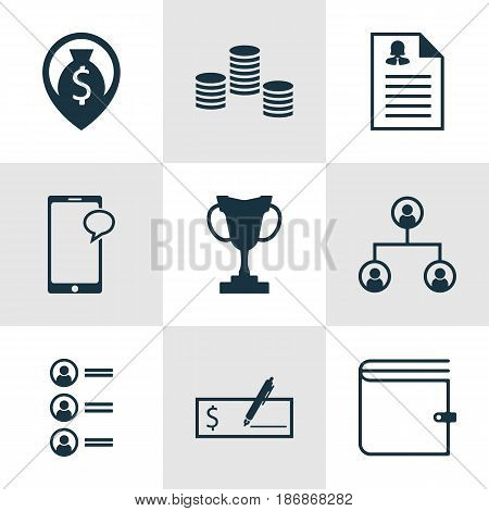Set Of 9 Human Resources Icons. Includes Tournament, Tree Structure, Job Applicants And Other Symbols. Beautiful Design Elements.