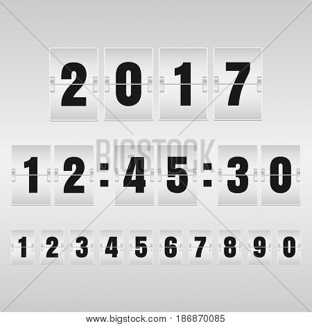 Countdown timer and mechanical scoreboard with different numbers. Vector illustration.