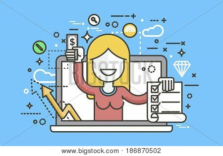 Stock vector illustration woman laptop notebook offers fill in application form design element email marketing, newsletter money win earning, income, discount, online line art style blue background icon