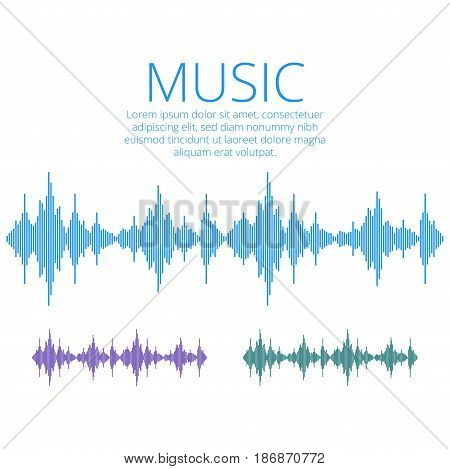 Vector sound waves Music Digital Equalizer Audio technology musical pulse.
