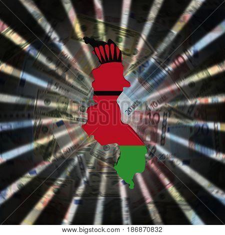 Malawi map flag on currency burst 3d illustration