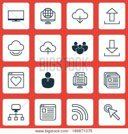 Set Of 16 World Wide Web Icons. Includes Send Data, Virtual Storage, Account And Other Symbols. Beautiful Design Elements.