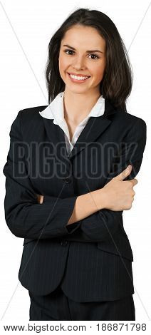 Woman female friendly smiling businesswoman arms crossed crossed arms