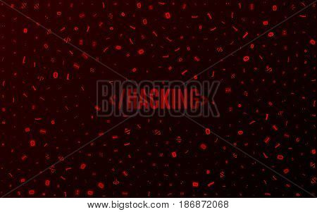 Abstract background from different programming symbols. Hi-tech and programming in design. Hacking system. Vector illustration. EPS 10