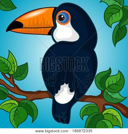 Dark Blue Toucan Character on a Branch with Leaves, Gradient Background, Hand Drawn Cartoon, Vector Illustration EPS 10