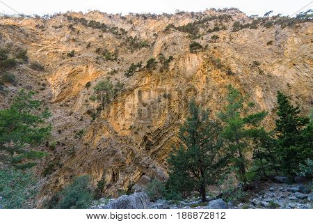 Rocks of Samaria Gorge. Island of Crete. Greece.