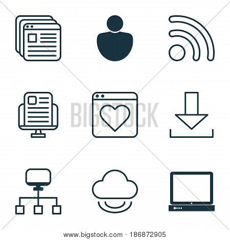 Set Of 9 World Wide Web Icons. Includes Human, Local Connection, Login And Other Symbols. Beautiful Design Elements.