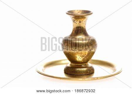 Antique Vase On Golden Tray On Vintage Table