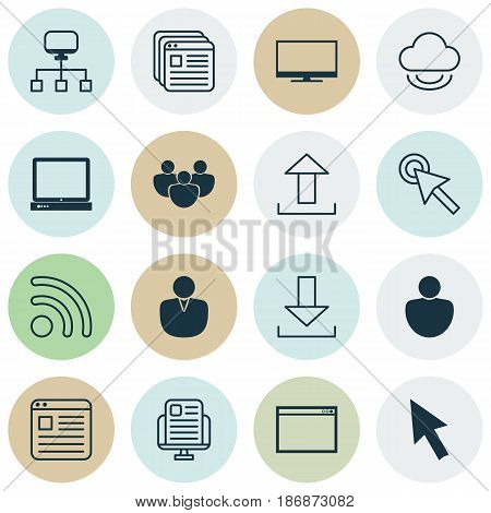 Set Of 16 Internet Icons. Includes PC, Website Bookmarks, Account And Other Symbols. Beautiful Design Elements.