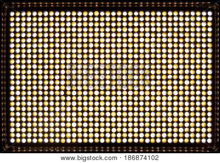 Led flood light with blinds for video and photography. 900 white and yellow diodes to create light with variable color temperature Kelvin 3200-5500. Powered by battery and power adapter