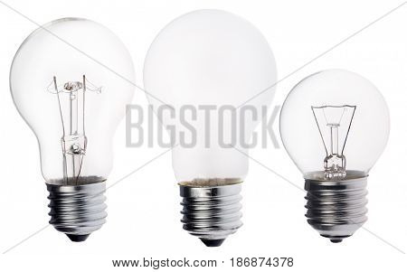 three incandescent electric lamps isolated on white background