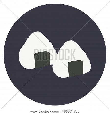 Isolated pair of onigiris on a colored button, Vector illustration