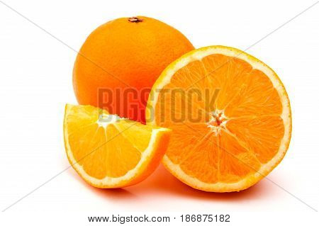 sweet orange closeup on a white background, oranges in the context of