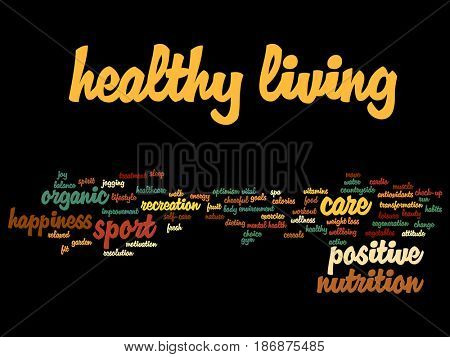 Concept or conceptual healthy living positive nutrition sport abstract word cloud isolated background. Collage of happiness, care, organic, recreation workout, beauty, vital healthcare spa text