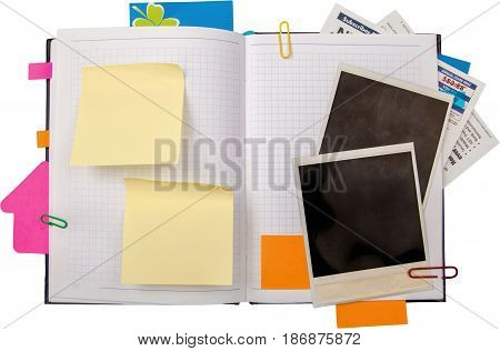 Blank notes sticky notes blank photos notebook clipped noting isolated