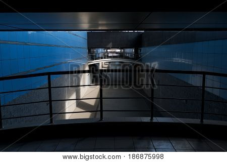 Pedestrian crossing in a tunnel without people