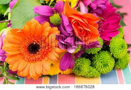 Orange Transvaal Daisy And Rose With Colorful Florist Flowers.