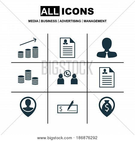 Set Of 9 Human Resources Icons. Includes Curriculum Vitae, Money Navigation, Female Application And Other Symbols. Beautiful Design Elements.