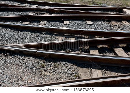 a Crossing railway tracks rails and sleepers