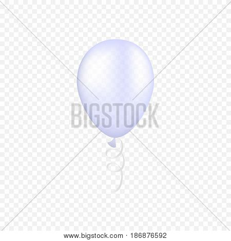 Vector white balloon on a transparent background. 3d realistic happy holidays flying air helium balloon. Party decorations for birthday, wedding design.