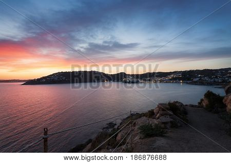 Sunset in Mykonos Cyclades Greece. Agia Anna. View from Scorpios