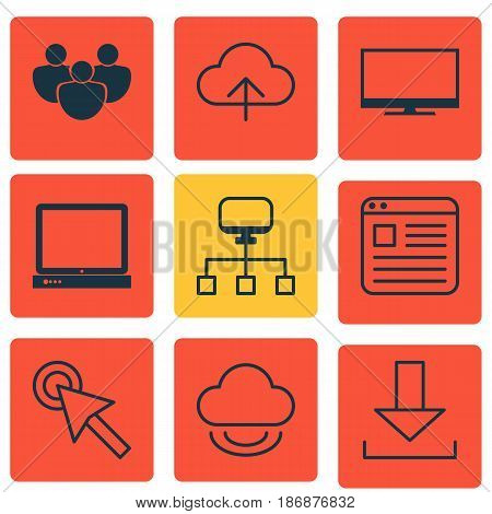 Set Of 9 Online Connection Icons. Includes Virtual Storage, Team, Login And Other Symbols. Beautiful Design Elements.