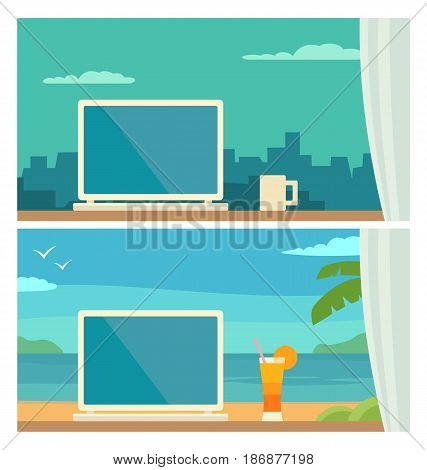 Two different workplace freelancer with a computer ang cup. Home and holiday. Evening city and morning tropical beach. Vector color flat illustration. For info graphic, web, banner
