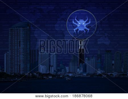 Virus computer icon on magnifying glass with office city tower river digital world map and binary code Business internet security concept Elements of this image furnished by NASA