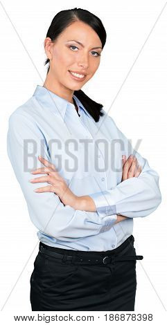 Woman female businesswoman arms crossed businessperson executive manager