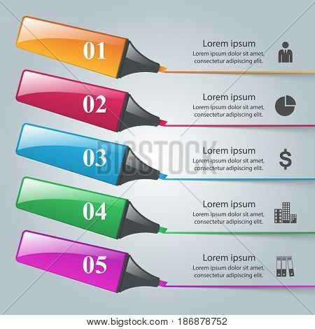 Origami style marker 3d infographics on the grey background