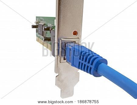 lan cable & network card on white background