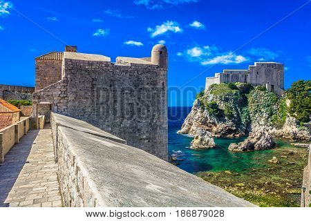 Scenic view at amazing idyllic landscape in town Dubrovnik, southern Croatia, european travel places.