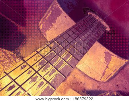 Guitar music background - abstract rock band poster