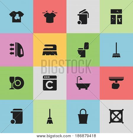Set Of 16 Editable Hygiene Icons. Includes Symbols Such As Restroom, Brush, Bathroom And More. Can Be Used For Web, Mobile, UI And Infographic Design.