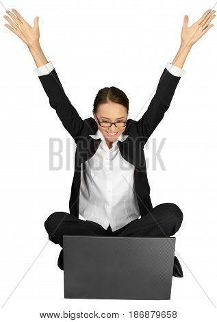 Woman businesswoman celebrating arms open cross legged friendly happy