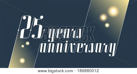 25 years anniversary vector icon logo. Graphic design element with lettering and festive fireworks for 25th anniversary ceremony