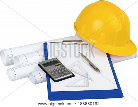 Construction plans architecture architect papers hammer building plans building projects architectural equipment
