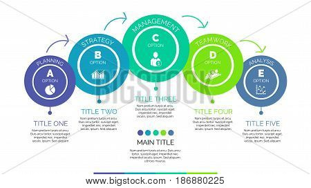 Five steps process chart slide template. Business data. Option, diagram, design. Creative concept for infographic, presentation. Can be used for topics like management, strategy, training.