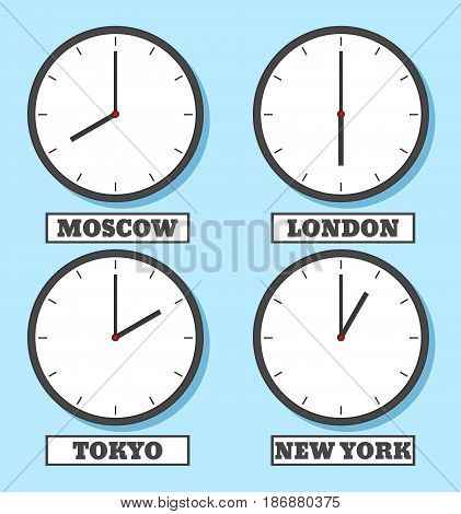 World time. The clock shows the time in four capitals. Vector illustration in flat style
